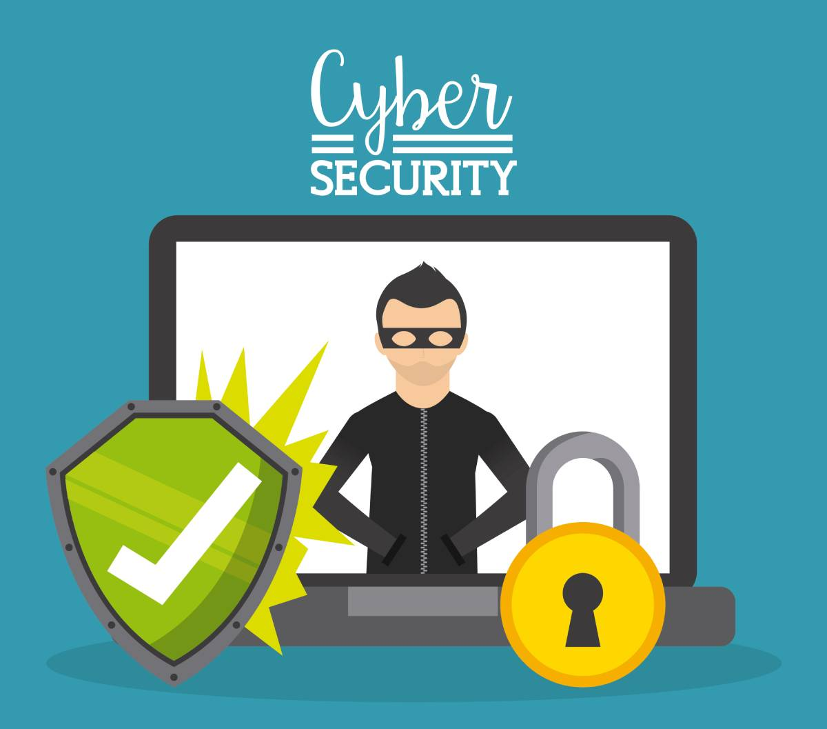 A graphic with a man in a mask on a laptop with a green shield & padlock in front of it, with cyber security written at the top